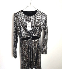 Nova ZARA srebrna haljina