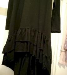 Nova crna pamučna haljina na volane