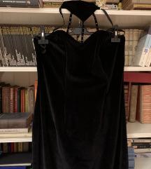 Plišana Velvet maxi duga haljina s chokerom