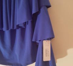Kraljevsko plava bluza na volane