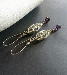 Unikatne handmade naušnice sa staklenim perlicama
