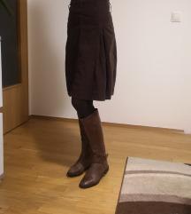 Smeđa suknja od samta