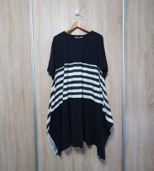 Crna pamučna haljina s prugama