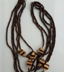 Razne ogrlice retro-drvo, koža