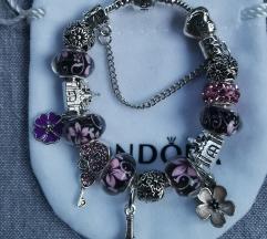 Pandora narukvica, crno roza, nova