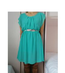 😍 petrolej zelena haljina s volan rukavima