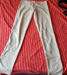 Bež lagane hlače s korzet vezanjem