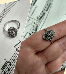 Art Deco prsten srebro i markeziti