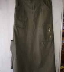 Military maxi pamučna suknja