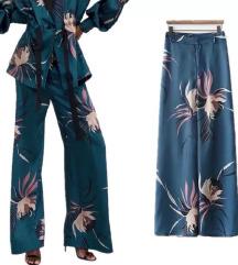 Zara palazzo print hlače