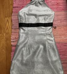 🤍ZARA 🤍srebrna novogodišnja haljina s ovratnikom