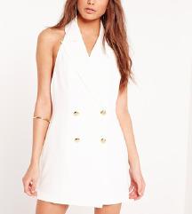 MISSGUIDED Bijela haljina na preklop