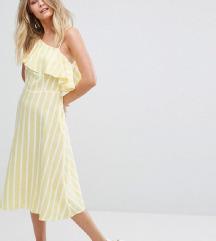SNIŽENO! ASOS Žuto-bijela prugasta haljina