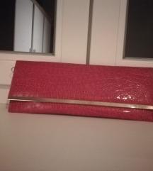 Accessorize Pink torbica krokodil uzorak
