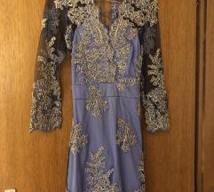Plava haljina sa zlatnim