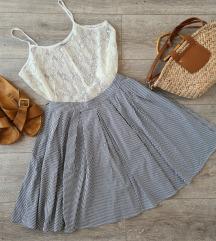 Prugasta midi suknja + top na poklon