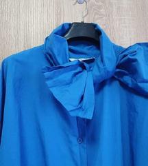 Zara plava popelin košulja s mašnom