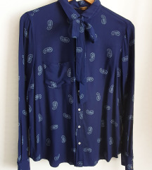 ZARA paisley print košulja s mašnom