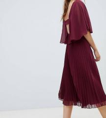 ASOS DESIGN midi tamnocrvena plisirana haljina