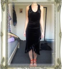 Crna plišana haljina - C&A, vel. XS/S (34/36)