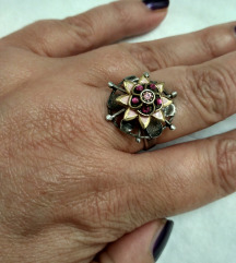 Rez!Unikatni vintage podesivi prsten, srebro