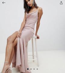 Asos duga svečana haljina puder roza