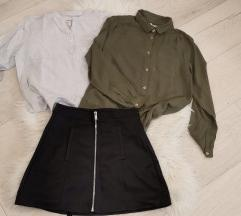 Suknja kožna + 2 košulje, XS