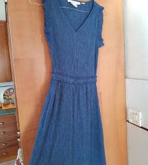 Tamno plava midi haljina