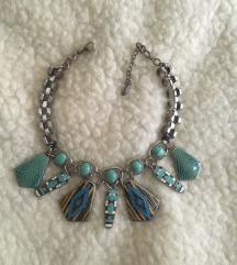 Zara oversized tirkizna ogrlica POSTARINA FREE