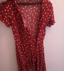 Besrsha crvena haljina sa točnicama