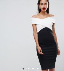 Asos crno-bijela midi haljina