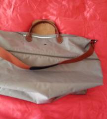 longchamp expandable sivo beige  putna torba