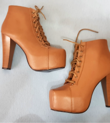Ideal ženske smeđe kožne čizme/platformke