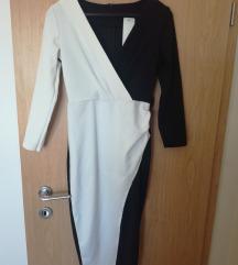 Bijelo crna haljina one size