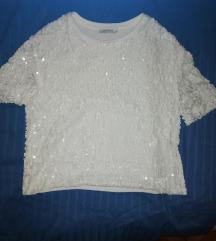 Zara bijela majica sa sljokicama