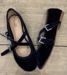 zara velvet plave cipele*19cm