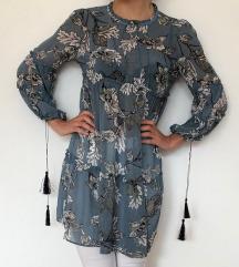 Nova plava cvjetna tunika haljina