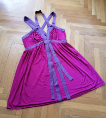 Ciklama haljina s ukriženim leđima