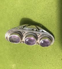 Prsten srebro ametist novi