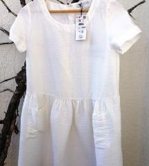 Reserved bijela haljina s džepićima