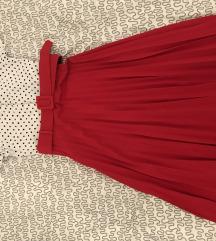 Crvena midi plisirana suknja