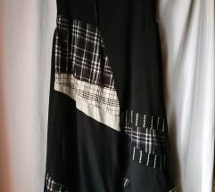 Crna haljina sa umecima od recikl.mater 44 46 48