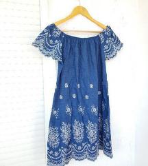 Prekrasna plava izvezena haljina kratkih rukava