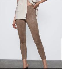 Zara brušena koža hlače, CRNE