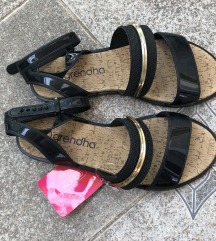 Grendha sandale, crno-zlatne