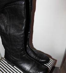 Snizenje crne visoke čizme prava koža!!!