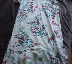 Cvjetna mint pamučna haljina s volanom xl/xxl