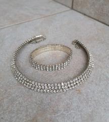 Ogrlica i narukvica komplet srebrni