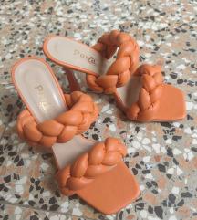 Narančaste pletene natikače na petu