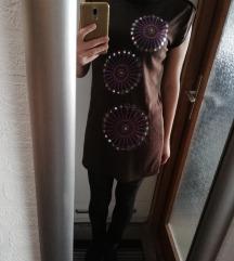 Smeđa pletena haljina/tunika